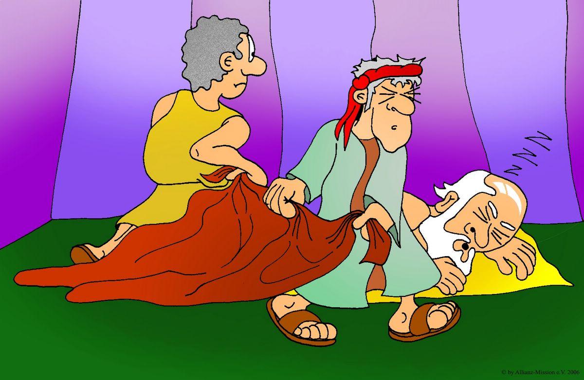 Sem und Jafet decken Noah zu