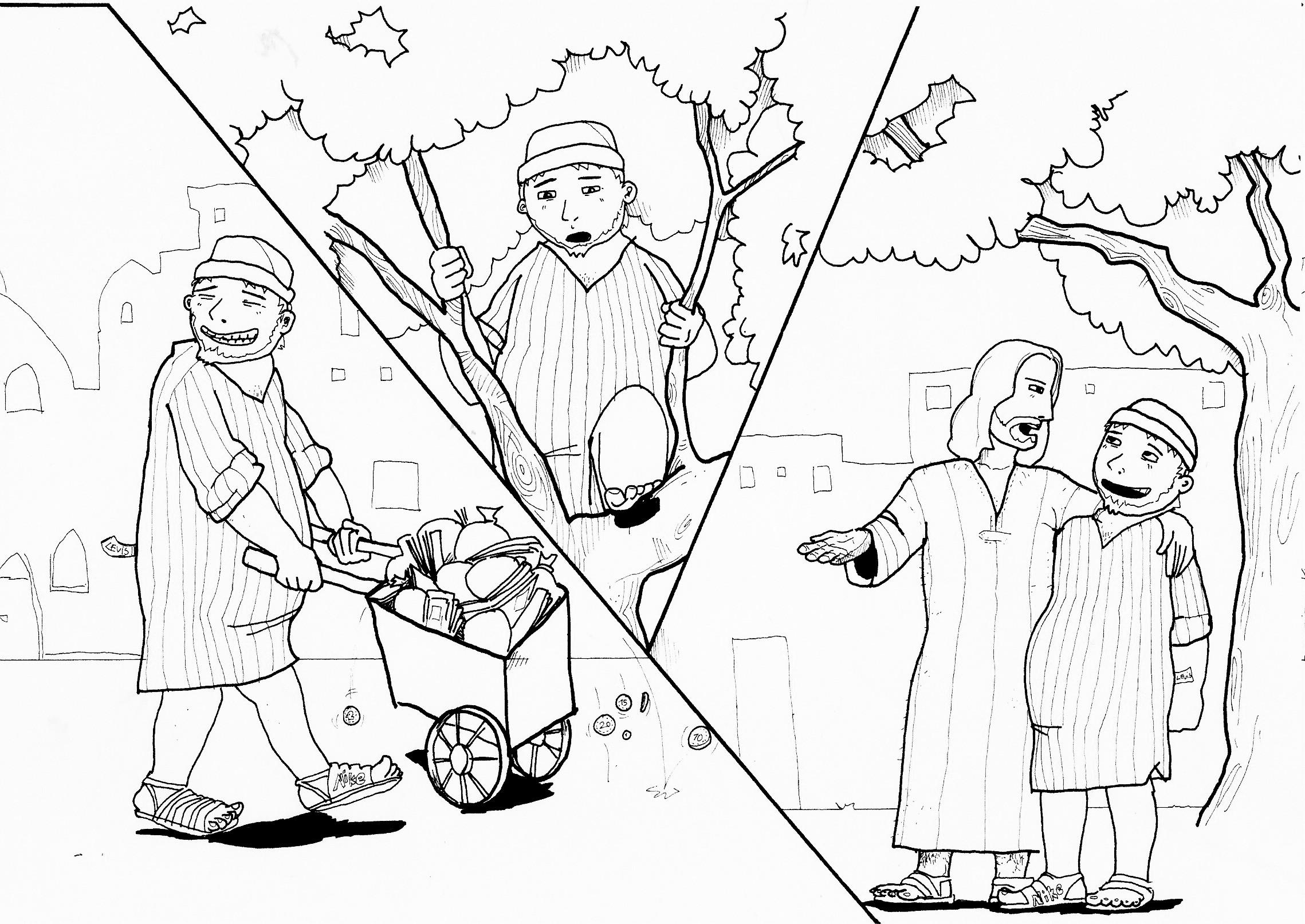 Gemütlich Malvorlagen Jesus Und Zachäus Bilder - Malvorlagen Von ...